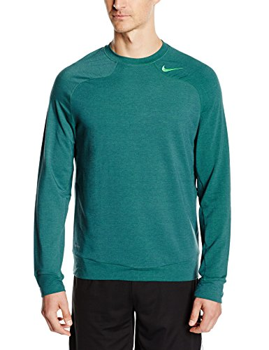 NIKE Herren Langarm Shirt Dri Fit Touch Fleece Crew Dark Emerald/Light Green Spark
