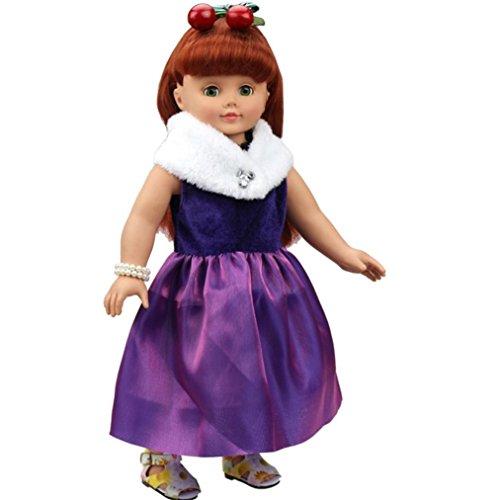 Schal Doll American Girl (Transer® Elegant Puppe Formale Kleid Rock Violett Party Schal für 45,7cm Unsere Generation American Girl Puppe)