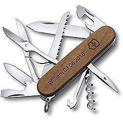 Couteau Suisse Personnalisé Gravé Victorinox Huntsman Wood Bois Noyer 1.3711.63-91 mm - 13 Fonctions