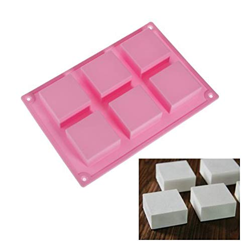 Runfon 6 Square Cavity Rectangle DIY Soap Mold Jelly Ice Cake Chocolate Silicone Moulds,Random color 100% brand new and high quality Square Chocolate Mold