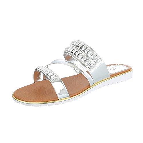 Pantoletten Damen-Schuhe Jazz & Modern Leichte Ital-Design Sandalen / Sandaletten Silber, Gr 39, A01-2-