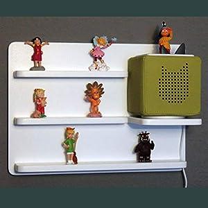 Das große Regal für Toniebox und Figuren Tonie Tonies ® für Kinder - Kinderregal für Audio Musikbox Figuren - weiß - Kinderzimmer
