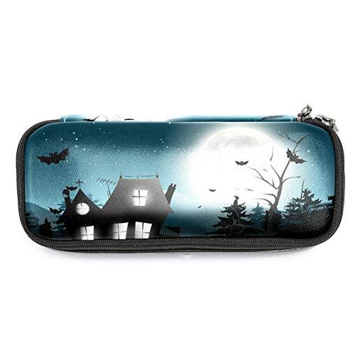 Bennigiry Federmäppchen mit Spooky Baum, Halloween-Nacht, PU-Leder, große Kapazität, Stifthalter mit Doppelreißverschluss, multifunktionale Kosmetiktasche