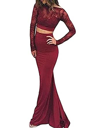 Red Long Sleeve Prom Dress Backless Dress Lace Two Piece ...