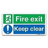 Britischen Standard Fire Exit Richtung Safety Signs selbstklebend Vinyl Aufkleber, Selbstklebendes Vinyl, Fire Exit Keep Clear, 30x15cm