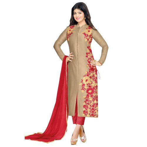 Special Mega Sale Festival Offer C&H Beige Cotton Designer Semi-stitched Salwar Suits
