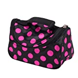 PANYTOW Black Zipper Cosmetic Bag Toiletry Bag Make-up Bag Hand Case Bag with Roseo Spots Patterns