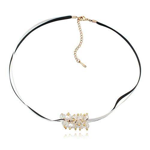 KnSam Donne Placcato in Oro Collane a Catena Rotondo Bianco Pearls Catena Regolabile Crystal [Novità Collana]