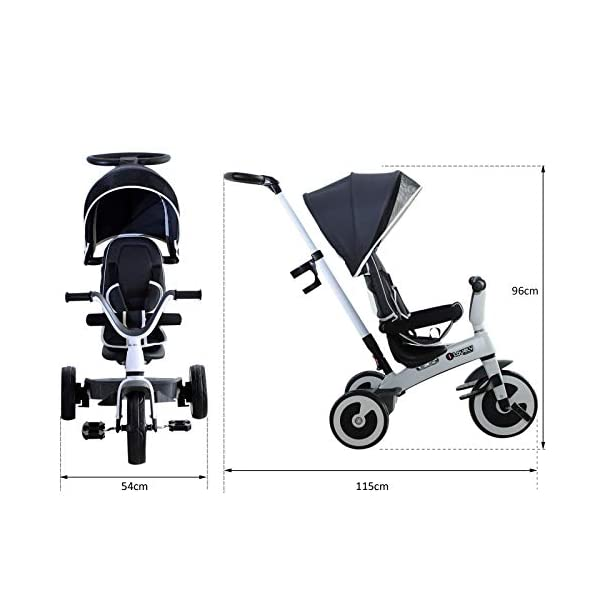 Yuldek - Baby Tricycle Children's 4-in-1 Trikes Kids Stroller W/Canopy Dark Grey - 4-in-1 Tricycle for 18 Months and Above - Tricycle with Canopy and Back Support YulDek Easy Control Brakes - The two independent brakes on the back wheels of this tricycle make it convenient for parents to control and stop the tricycle whenever they want. Storage Basket - This 4-in-1 trike for babies has a storage basket at the back to carry your kids' toys or to store essentials. Adjustable Canopy - Removable and adjustable canopy of this kids cycle offers your kids with alternative choices of protecting them from UV or enjoying the sunshine. 5