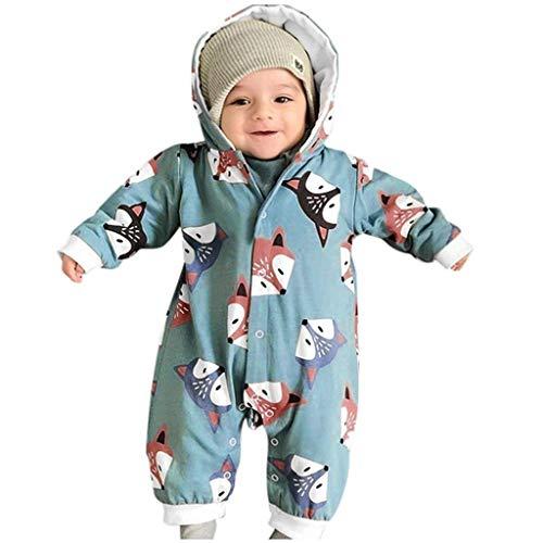 UFODB Spielanzug Baby Winter Overall Mit Kapuze Schneeanzüge Mädchen Jungen Strampler Jumpsuit Unisex Kleinkind Fuchs Cartoon Print Neugeborenen Pyjamas Onesie