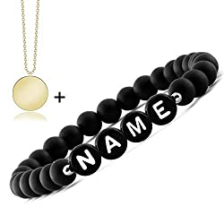 Meinearmbänder   Freundschaftsarmband   Partnerarmbänder mit Onyx Perlen   Perlenarmband   Individueller Schmuck für Herren und Frauen   Geschenk für Paare