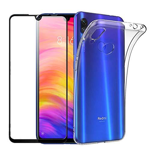 Wanxideng - Funda Xiaomi redmi Nota 7 + Protectores de Pantalla in Cristal Templado, Carcasa Suave Delgado Claro Funda de Silicona TPU - transparent