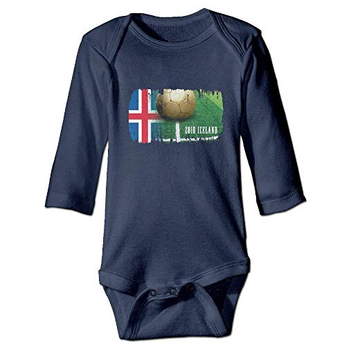 Monicago Neugeborenes Baby-Jungen-Mädchen-Bodysuit-Lange Hülse, Iceland Football 2018 Baby Joys Playsuits Long-Sleeve Bodysuits