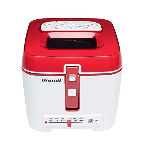 Brandt - Friteuse classique - Minuterie électronique avec écran LCD - Cuve amovible et filtre anti-graisse métallique - Capacité de la cuve 2,5 L/capacité du panier 1,2 kg - Blanche et rouge