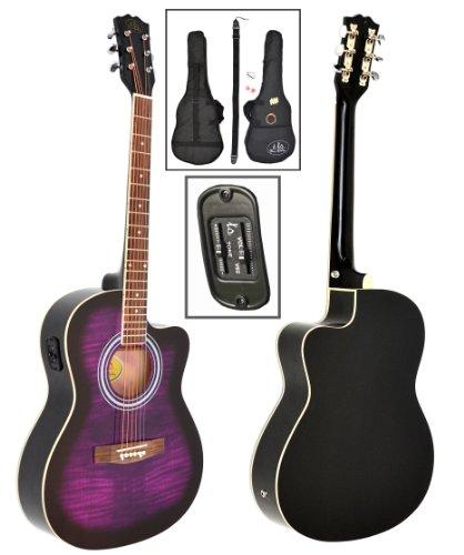 ts-ideen–4/4tamaño completo acústica guitarra occidental en morado y'tigre' look para cuerdas Pickup y Kit de accesorios