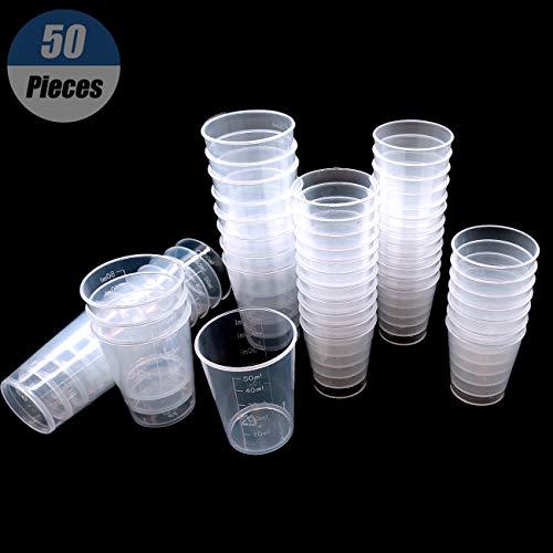 YuChiSX 50 Pack Tapas plástico graduadas Transparentes