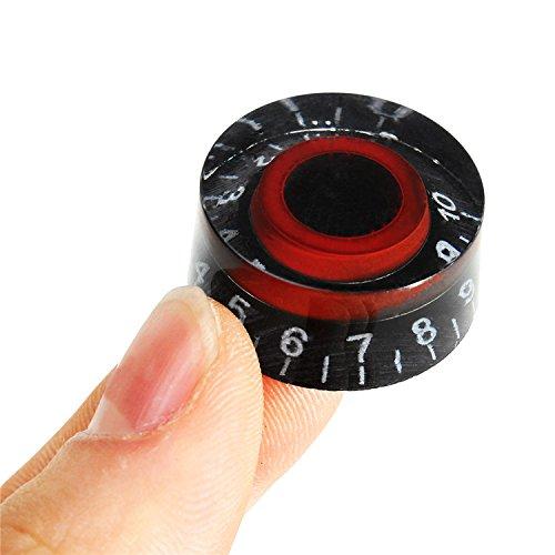 VIDOO Perillas De Control De Mandos Negro Rojo Guitarra Electrónica Velocidad Dial para LP Les Paul Guitarra