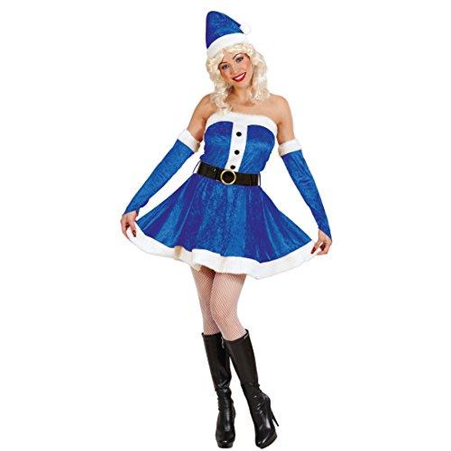 Amakando Miss Santa Kleid - L (42/44) - Nikoläusin Damenkostüm Weihnachtsfraukostüm Weihnachtskleid Weihnachtskostüm Frau Blaues Weihnachtsfau Kostüm