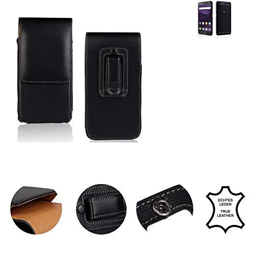 K-S-Trade® Gürtel Tasche Für ZTE Blade V8 64 GB Handy Hülle Gürteltasche Schutzhülle Handy Tasche Schutz Hülle Handytasche Seitentasche Vertikaltasche Etui, Leder Schwarz, 1x