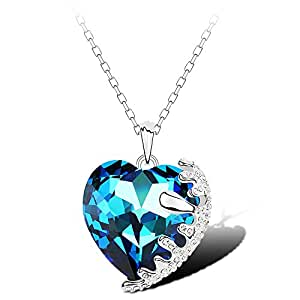 7 Ounces - 'Amour Suave' - Collier coeur Femmes/Filles - Bijoux Fantaisie chic - Allliage Plaqué Or Blanc - Cristal Swarovski Elements Bleu - 40 cm