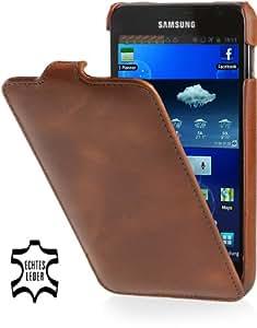 StilGut UltraSlim Case, Tasche aus Leder für Samsung Galaxy Note N7000, Cognac