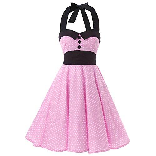 iHAIPI - Damen Vintage Tupfen Retro Cocktail Abschlussball Kleider 50er 60er Rockabilly Neckholder, - Pink with Mini White Dots, 02. EU 38 (M)