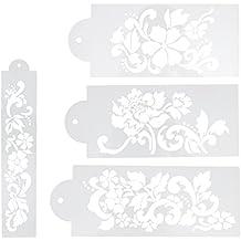 Matefield - 4 moldes para decoración de tartas con diseño de flores ...