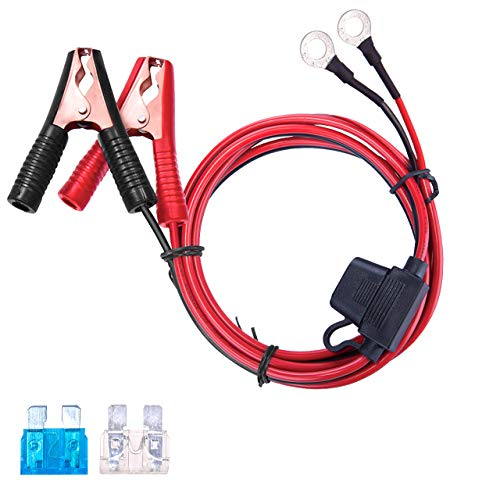 DEDC Auto Accendisigari Cavo Occhiello Prolunga 16 AWG con Morsetto Terminale Batteria 12V / 24V, 2 Coccodrillo Clip + 2 Fusibili, 4 M / 13,1 FT per Auto Convertitore di Alimentazione