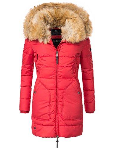 Marikoo Damen Winter-Mantel Steppmantel Knuddelmaus (vegan hergestellt) Rot Gr. L