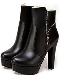 QIN&X La mujer Tacones Talón de bloque corto de cabeza redonda Botines zapatos con plataforma de gran tamaño