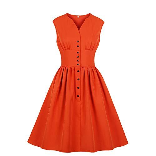Wellwits Women's Slit Neck Button Down Tea Party 1940s Vintage Dress Orange L