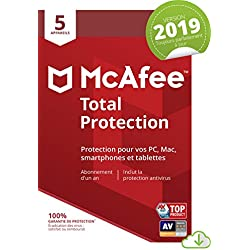 McAfee Total Protection 2019 | 5 Appareils | 1an d'abonnement | PC/Mac/Android/Smartphones [Download Code]