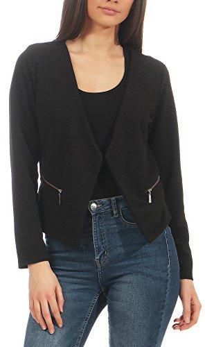 Malito Damen Blazer ohne Kragen | Sakko im Basic Look | Kurzjacke mit Zipper | Jacke - Jackett - Blouson 6040 (schwarz, XL)