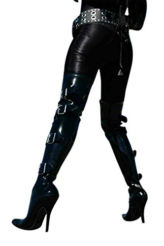 Erogance Lack High Heels Overkneestiefel, Stivali donna Nero (nero)