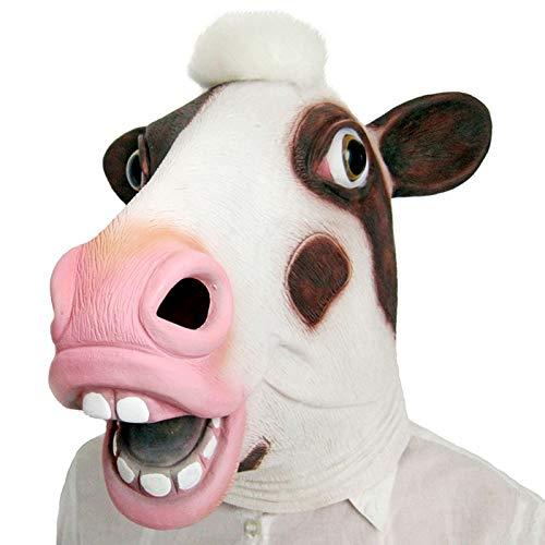 WSJMJTM Tierkopf Maske Latex Deluxe Neuheit Halloween Kostüm Party Eichhörnchen Weibliche Kuh Party Cosplay - Weibliche Kuh Kostüm