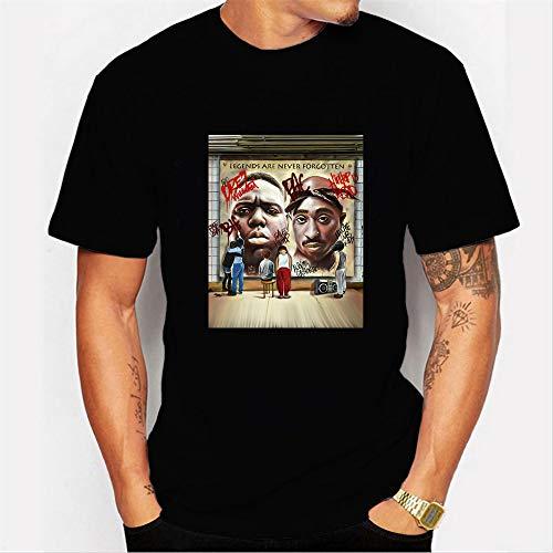 INSTO T-Shirt Mode 3D Drucken Kurz Ärmel Unterhemd Hiphop Superstar 2Pac Karikatur Gedruckt T-Stück Unisex Einfach Beiläufig / A2 / L