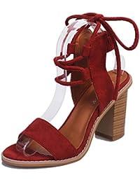 Minetom Verano Sandalias de vestir Cuero Nobuck Gladiador Mujer Tacones Gruesos Lace Up Zapatos de Tacón