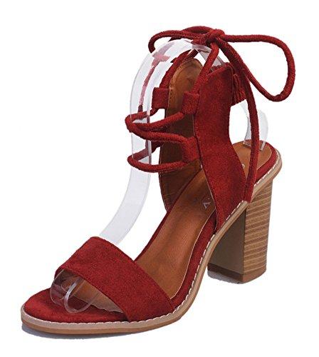 Minetom Damen Sommer Elegante Knöchelriemchen Sandalen Bequeme Hoch Absatz Lace Up Peep Toe Plattform Schuhe Sandals Rot EU 39