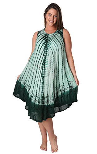 Blue Sundress/beach Cover up One Size (One Size, Green Tie Dye) (Blue Baby Tie-dye)