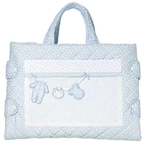 Filet Wickeltasche mit großer Kapazität von Laterale Öffnung innen aus weichem Frottee für den Austausch - Farbe Hellblau Filet