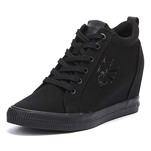 Calvin Klein Jeans Ritzy Damen Wedge Schwarz Sneakers-UK 6 / EU 39 Womens Platform Wedge Schuhe Sneaker