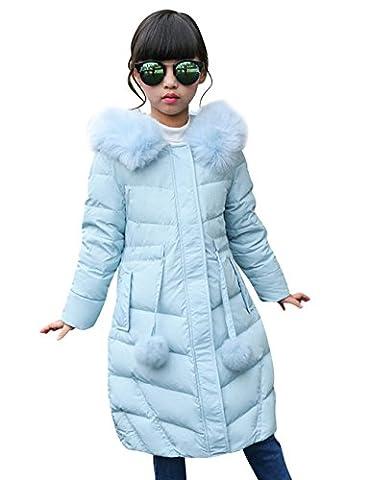 Menschwear Mädchen Daunen jacke Winter jacke leicht duenn Daunenmantel mit Kapuze (120,Blau)