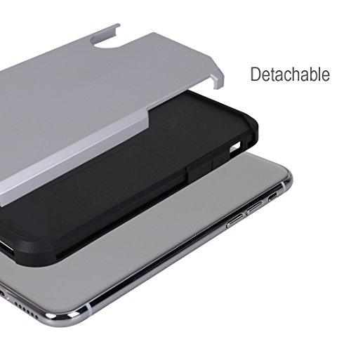 iPhone X Hülle, Asnlove Caso Hybrid Doppelschichter Schutz Premium Handyhülle Tasche Silikon TPU Schale Schwarz mit PC Farbenrahmen Dual Layer Schutzhülle und 360 Grad Drehbare Klammerfunktion Herausn silver