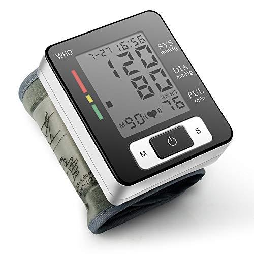 YMHL Handgelenk-Blutdruckmessgerät (100 Lesespeicher) - Medizinische Genauigkeit - Schnelle und genaue Messungen, 2 Benutzer, Große LED-Bildschirmnummern, Schwarz