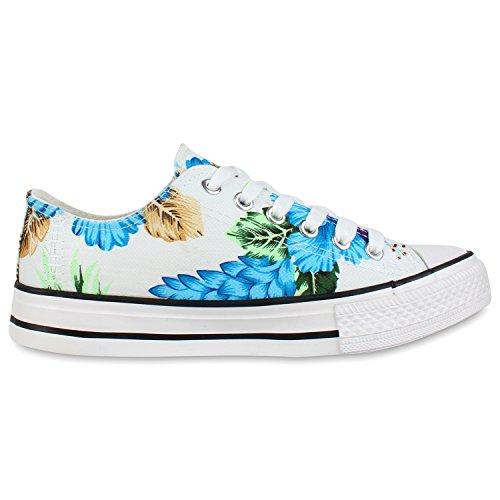 Trendige Unisex Sneakers | Low-Cut Modell | Basic Freizeit Schuhe | Viele Farben | Gr. 36-45 Blau Flower