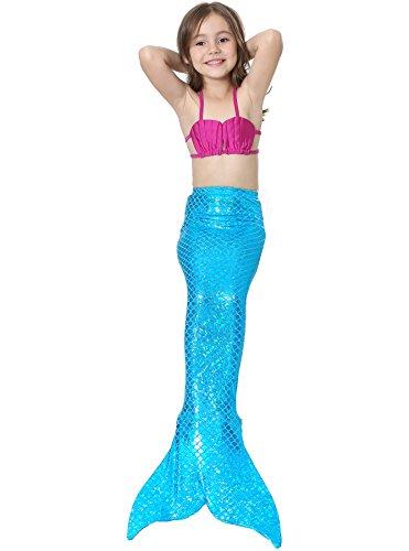 Lonchee niedlich Mädchen Meerjungfrau Schwimmanzug Schalentiere schuppen Stil Badeanzüge Bikini Kostüm Badeanzug Kann Monofin treffen für Kinderschwimmen Schwimm (Sachen Kostüme Tote)