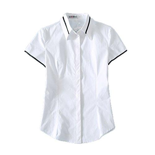 URSFUR Mode kurzärmelige Damen Hemd T-Shirt Schulmädchen Kostüm Baumwolle Langarmshirt Oberteil V-Ausschnitt Top Shirt Bluse - Stil 2 L