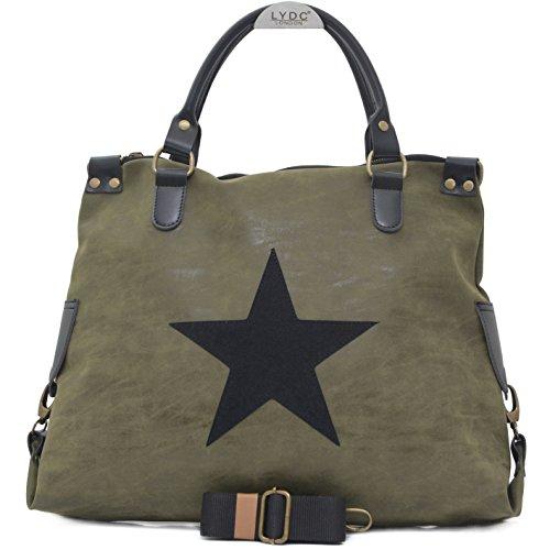 Vain Secrets Sternen Shopper Damen Handtasche mit Schulterriemen (Washed PU Grün) - Washed Leder Umhängetasche