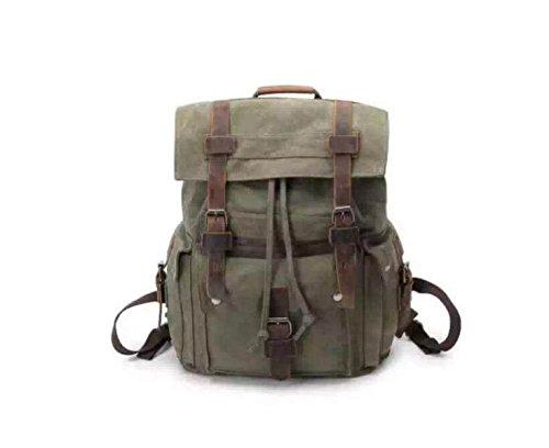Retro Leinwand Tourismus Rucksack Bulk Schultasche Leichte Schultertasche Daypack,ArmyGreen Green