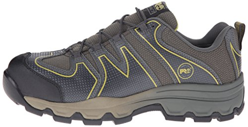 Timberland PRO Men s Rockscape Low Steel Toe Industrial Hiking Boot  Grey Synthetic With Yellow Pops  11 5 W US